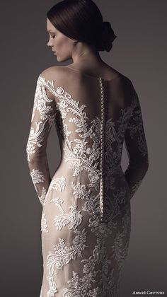amare couture ss 2016 long sleeves illusion jewel sweetheart neckline fully embellished lace white ivory caramel color elegant dramatic fit flare wedding dress sheer back sweep train (harper)