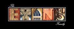 Original photos of architectural details create unique name prints.