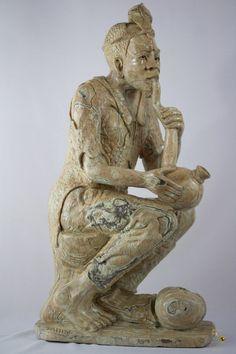 Butter Jade Stone Carved - Old Man Sculpture - T. M. GIDI Signed- Shona Art Jade Stone, Old Men, Lion Sculpture, Butter, Carving, Statue, Art, Art Background, Wood Carvings
