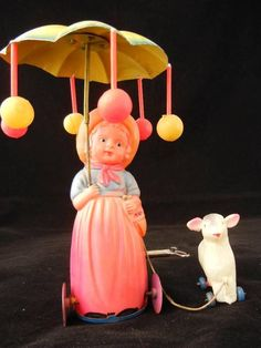 "Vintage Occupied Japan Celluloid Tin Wind Up Toy ""Mary Had A Little Lamb"""