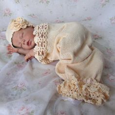 Newborn Baby Lacy Crochet and Knit Hat and Cocoon / Snuggle Sack in Cream Cotton Photo Prop