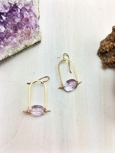 Rouge Kisses Earring 'D' - Pink Amethyst 14k Gold Fill Frames