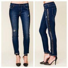 FP Blue Tuxedo Solstice skinny sequin jeans Super cute tuxedo style with sequins! Skinny style . Free People Jeans