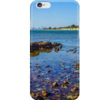 A View to the Brighton Bath Huts and the Melbourne CBD iPhone Case/Skin