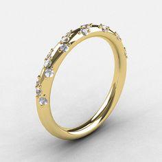 French Bridal 14K Yellow Gold Diamond Wedding Band by artmasters, $929.00
