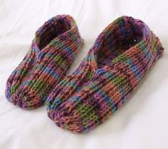 My Grandmother used to always make these.  I want a pair.  Knitted Slippers