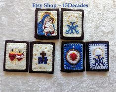 Hand Embroidered Brown Scapulars ~ 3 Designs to choose from: OLO Mt Carmel, Immaculate Heart/Sacred Felt Embroidery, Embroidery Stitches, Embroidery Patterns, Mexican Folk Art, Felt Hearts, Sacred Heart, Heart Art, Religious Art, Miraculous