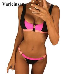 d1439b474e14 US $11.9 19% OFF|Aliexpress.com : Buy Zipper Patchwork Bikini 2019 Female  Swimsuit Women Swimwear Two pieces Bikini set Brazilian Bather Bathing Suit  Swim ...