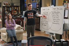 "Amy and Sheldon deciding on a Halloween costume as a couple.  Note under Amy's couples ""Blossom & Joey"" - The Big Bang Theory Wiki"
