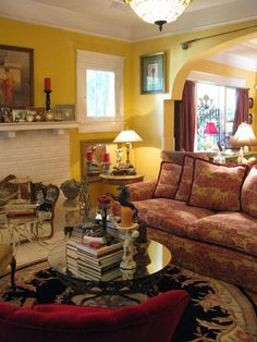 Overly decorated but I like some of the furniture arrangements