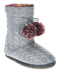 Loving this Gray Cable-Knit Fleece-Lined Slipper Boot on #zulily! #zulilyfinds