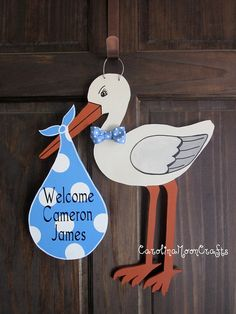 New Baby Boy Stork Door Hanger Door Decor by CarolinaMoonCrafts