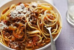 Classic! Spaghetti Bolognese with a rich homemade Bolognese sauce infused with onion, garlic and Worcestershire sauce. Ready in just 50 mins, it's the perfect family meal. Get the recipe: http://www.goodtoknow.co.uk/recipes/516475/spaghetti-bolognese-1