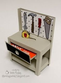 A tutorial for a workbench gift card holder - the drawer actually opens and you can include a Home Depot, Lowe's, etc. gift | http://cutegreetingcards.blogspot.com