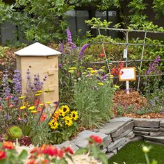 beautiful garden with bee hive.  I want a bee hive, then I can harvest my own honey!    And a chicken coop too!