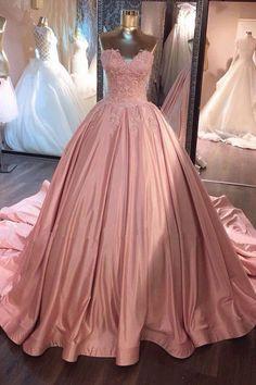 Pink Sleeveless Prom Dresses, Long Prom Dresses,Pink Sweetheart Lace Dresses #promdresses #lacedresses #longpromdresses #promdresses2018