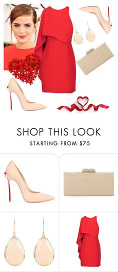 """270. Red Again"" by explorer-148461648110 ❤ liked on Polyvore featuring Casadei, Dune, Latelita, Emma Watson and Halston Heritage"