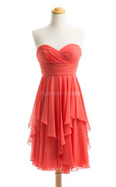 Vintage Red A Line Strapless Chiffon Bridesmaid Dresses(BSD185)