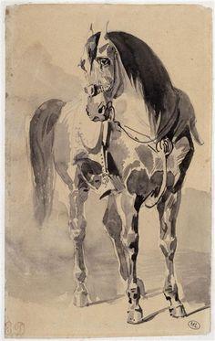 Eugène Delacroix | Cheval sellé vu presque de face | Images d'Art