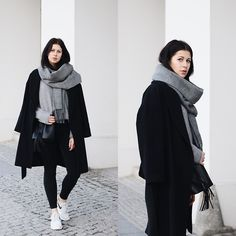 Get this look: http://lb.nu/look/8053456  More looks by Schwarzer Samt: http://lb.nu/schwarzersamt  Items in this look:  H&M Belted Coat, Topshop Scarf, Tom Tailor Woolen Sweater, Monki High Waist Jeans, Nike Roshe Runs, Pieces Bucket Bag   #casual #minimal #sporty