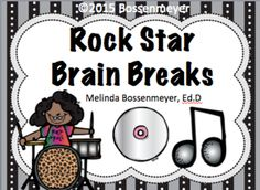 """Rock Star Brain Breaks from Peaceful Playgrounds Shop on TeachersNotebook.com -  (7 pages)  - Students have fun with a Rock Star """"themed"""" set of 16 brain break cards.  Some examples include:  Play the drums, Rock out on the keyboard, and dance like a first grader."""