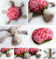 Totu La Tortue / Totu the Turtle . Handmade plushie by Anna Billies Frieds. Sewing Toys, Sewing Crafts, Sewing Projects, Baby Couture, Couture Sewing, Turtle Crafts, Turtle Pattern, Sock Dolls, Fabric Animals