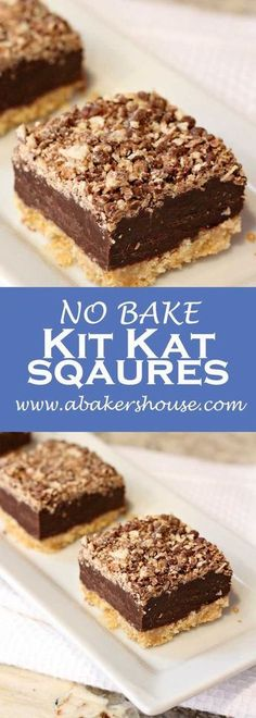 No bake Kit Kat Squares! There is a wafer cookie crust on the bottom, layered next with a chocolate and condensed milk, and topped with a kit kat crumbs. No baking required-- just the microwave and the refrigerator make these beauties! Valentine Desserts, Köstliche Desserts, Chocolate Desserts, Delicious Desserts, Dessert Recipes, Spanish Desserts, Chocolate Chips, Sweet Desserts, Valentines Baking