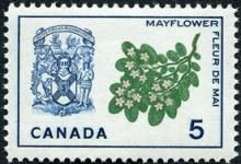 Canada Stamp -   (1965) Coat of Arms and Provincial Flower - Nova Scotia: Mayflower