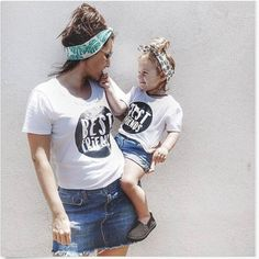 Summer Mother Daughter T Shirt  Short Sleeve White BestFriends Print  Mother Son Clothes Family Look Mom Daughter Dress