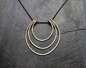 Geometric Hammered Long Oval Necklace - by Loop Jewelry - Silver  Geometric - Gold Geometric - Art Deco- Oval Necklace - Circle Necklace