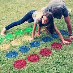 Time for a cheeky outdoor game of twister #hack #campinghack #twister