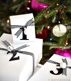 Done In a Minute gift wrap ideas.  Letter & Number Gift Tags - In My Own Style