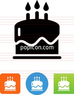 Birthday Cake Icon - Illustration from Popicon Birthday Cake Clip Art, Cafe Icon, Restaurant Icon, Drink Icon, Birthday Cake With Candles, Icon Set, Vector Icons, Bakery, Illustration