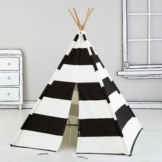 Black Stripe Canvas Teepee