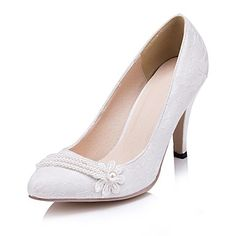 Women's Shoes Pointed Toe Stiletto Heel Lace Heels with Flower Wedding Shoes More Colors available – USD $ 39.99