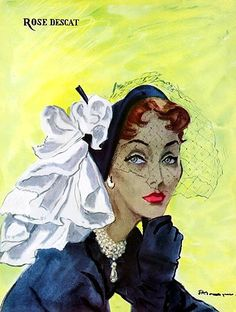 Rose Descat (Millinery), illustrated by Pierre Mourgue 1950