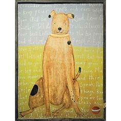 Brown dog vintage art