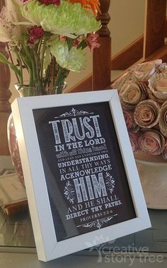 Makes a great Relief Society birthday gift - under $3/each. FREE Trust in the Lord printable in a $2 IKEA frame!  Adorable! | Creative Story Tree