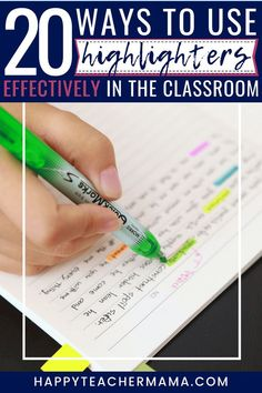 Teaching kids how to use highlighters effectively is important to their understanding. Discover 20 ways to add highlighting practice to all subjects. New Vocabulary Words, Math Words, Teaching Jobs, Teaching Technology, Technology Tools, Teaching Resources, Transition Words, Order Of Operations, Teaching Techniques