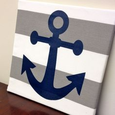 Anchor Chevron and Striped Wall Art  Canvas by AmericanGirlStyles, $15.00