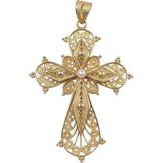 Vintage Gold Filigree Cross Pendant with Cultured Pearl Accent Vintage Gold Filigree Cross Pendant with Cultured Pearl Accent Gold Filigree, 18k Gold, Gold Pearl, Cross Jewelry, Stone Jewelry, Cross Pendant, Pearl Pendant, Pearl Necklace, Pendant Necklace