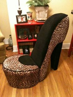 High Heel Shoe Chair Leopard And Black.
