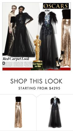 """""""Red Carpet at the Oscars !"""" by alves-nogueira ❤ liked on Polyvore featuring Monique Lhuillier, RedCarpet, MoniqueLhuillier, polyvoreeditorial and Oscar"""