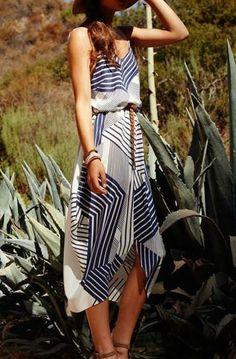 Stripe patchwork dresses.