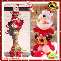 The First Prize for Best Decor goes to Pookie Foster for this original Santa Column! Find a balloon professional near you. #santa #christmas #balloon #qualatex