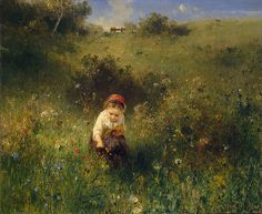 "WINDYPOPLARSROOM: KNAUS LUDWIG ""GIRL IN A FIELD"" #art #lovely #flowers #child #painting"