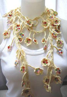 Fancy long crocheted bead scarf/necklace
