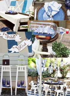 Beachy Outdoor Party Inspiration >> http://blog.diynetwork.com/maderemade/2013/06/06/from-beachy-to-barbecue-party-themes-for-outdoor-entertaining/?soc=pinterest