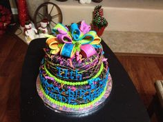This was made for a little girls dance birthday party! She wanted really bright colors on her cake.
