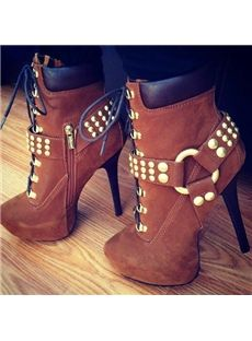 Special Rivets Lace-Up Ankle Boots I want these so bad!! Super cute and the right amount of height.